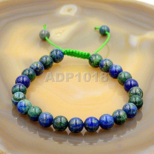 AD Beads Natural 8mm Gemstone Bracelets Healing Power Crystal Macrame Adjustable 7-9 Inch (Lazuli Chrysocolla) (Beads Stone Chrysocolla)