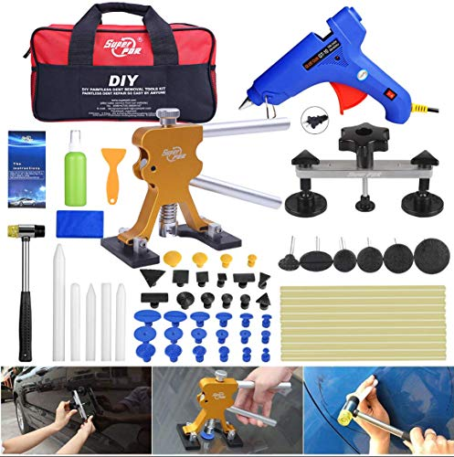 Fly5D 53Pcs Auto Body Paintless Dent Repair(PDR) Removal Tool Kits Dent Lifter Bridge Glue Puller Kits with Tool Bag ()