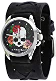 Nemesis #FXB933K Women's Love of Death Criss Cross Charcoal Wide Leather Cuff Band Watch