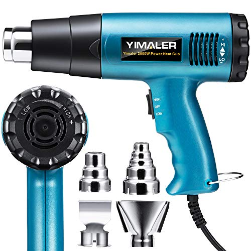YIMALER 2000W Heat Gun, 8 Seconds Fast Heating 122-1202℉ Hot Air Gun with 4 Nozzles, Variable High-Temperature and Dual Fan Speed Settings, Overload Protection for Heat Shrink Tubing Crafts PVC -