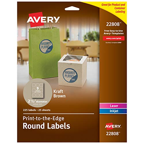 Kraft Paper Labels - Avery Round Labels for Laser & Inkjet Printers, 2.5