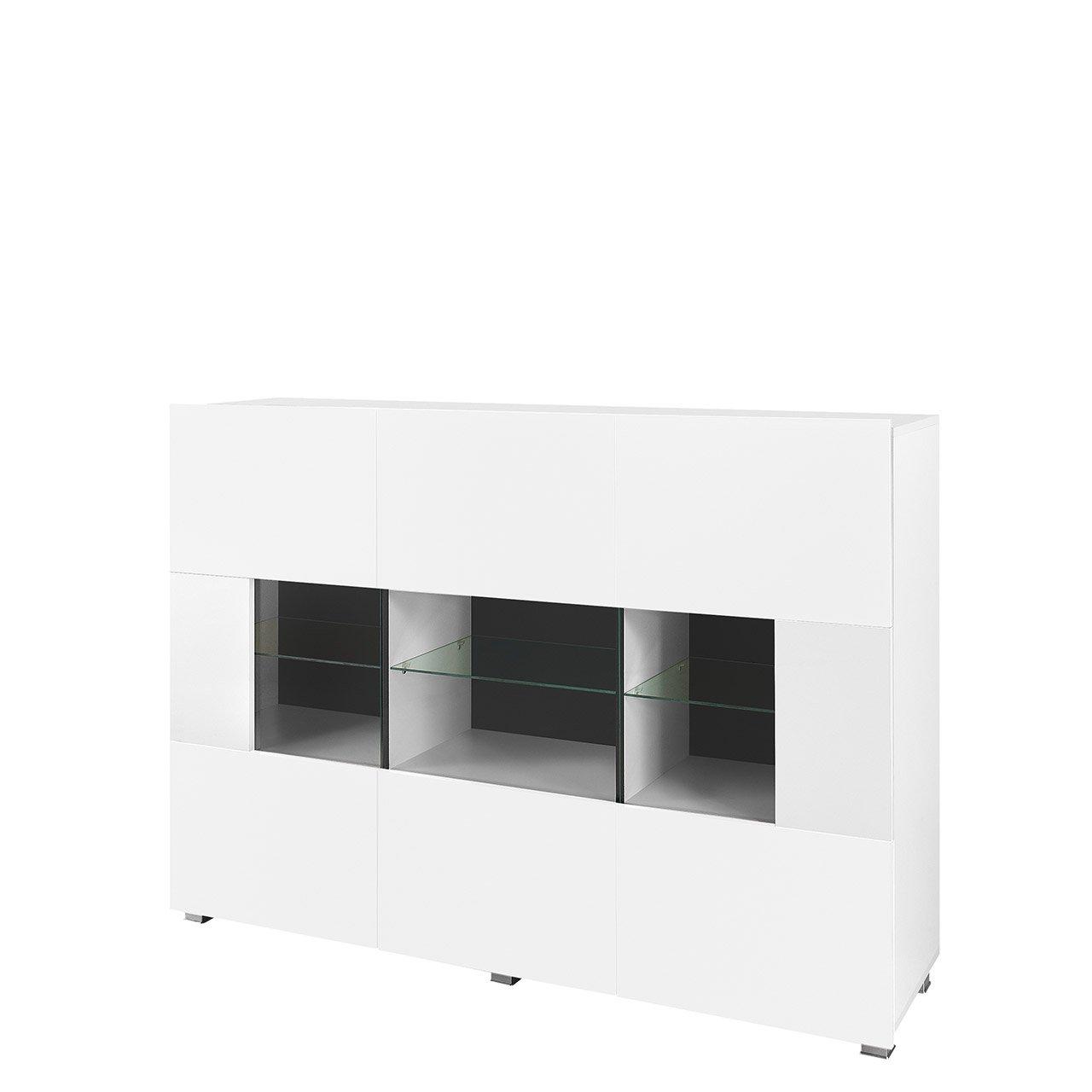 Mirjan24  Kommode Gordia G K3D mit 3 Türen, Anrichte, Sideboard, 150x107x35 cm, Mehrzweckschrank, Highboard, Wohnzimmer (mit Blauer LED Beleuchtung, Weiß/Weiß Matt + Weiß Hochglanz)