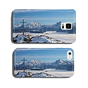 Summit cross against mountain backdrop cell phone cover case iPhone5