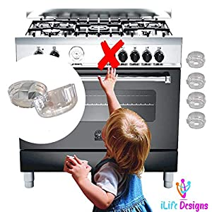 iLife Designs Child Safety Cover Locks for Gas Stove Knob, Protection Lock Child Toddler Baby Pets, Removable Reusable Clear Design - 2018 Upgraded