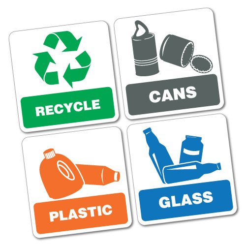 4X Bin Signs Recycle Cans Plastic Glass Sticker