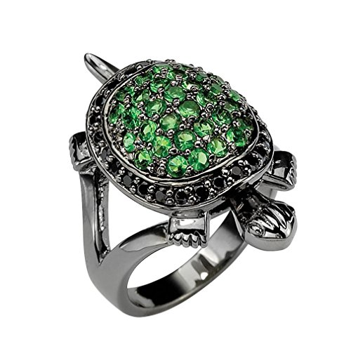 - Palm Beach Jewelry Black Ruthenium-plated Round Black Cubic Zirconia and Green Glass Turtle Ring Size 8