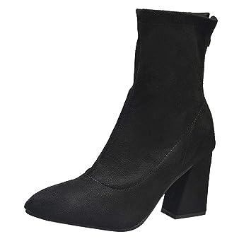 Mujer botines Casual tacón alto elegante,Sonnena ❤ Zapatos de tacón alto en punta de mujer Medio tubo de gamuza Casual Boots Bota de cremallera: ...
