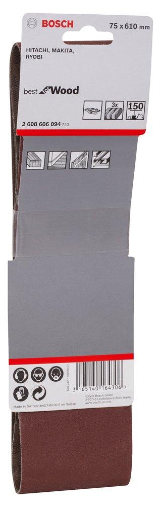 75 x 610 mm Pack of 3 G150 Bosch 2608606094 Set of Sander Belt