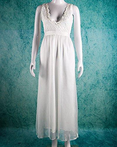 Vestido de Fiesta Mujeres sin Manga V-Cuello Encaje Maxi Vestido de Partido Largo Blanco