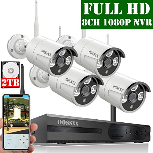 【2019 Update】 OOSSXX 8-Channel HD 1080P Wireless Security Camera System,4Pcs 1080P 2.0 Megapixel Wireless Indoor/Outdoor IR Bullet IP Cameras,P2P,App, HDMI Cord & 2TB HDD Pre-Install (Best Home Security Camera Outdoor 2019)