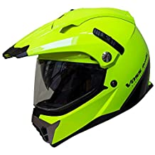Voss 600 Dually Dual Sport Helmet with Integrated Sun Lens and Removable Peak DOT - XXL - High Visibility Green