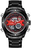 NAVIFORCE Men Stainless Steel Band Multifunctional LED Waterproof Dual Display Quartz Digital Wrist Watch