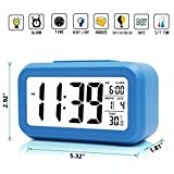 iProtect Battery Operated Small Digital Alarm Clock - Perfect for the Bedroom, Kitchen, Desk, Table, Bedside or for Travel with Extra Large Display, Snooze, Date, Temperature and Light Sensor in Blue