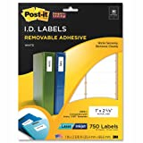 Post-it Super Sticky Removable Identification Labels, 1 x 2.62 Inches, White, 750 per Pack (2500-I)