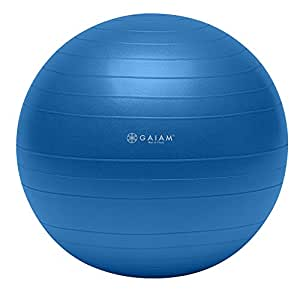 Gaiam Total Body Balance Ball Kit - Includes 75cm Anti-Burst Stability Exercise Yoga Ball, Air Pump & Workout Video - Blue