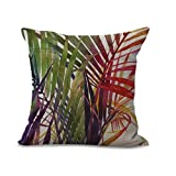 Throw Pillow Cases,Woaills Tree Leaf Simple Square Pillowcase Cushion Covers with Hidden Zipper (ColorB)