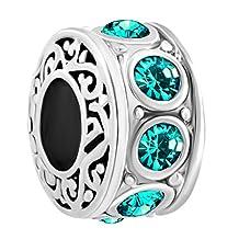 Charmed Craft Filigree Charm Jan-Dec Birthstone Spacer Beads Sale Cheap Jewelry Fit Pandora Charms Bracelet