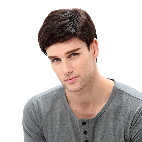 STfantasy Mens Brown Wig Male Guy Short Layered Cosplay Costume Party Natural Hair 12