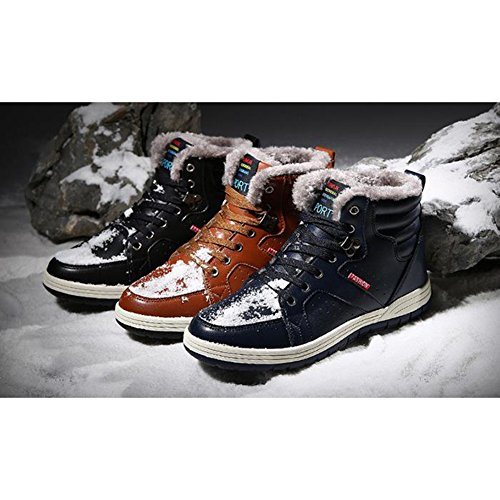 Worker Ankle 7 Boots Lining 13 Winter Shoes plus Men's Outdoor hibote Casual Walking Winter Warm US 5 Lining size Cotton Shoes Black Shoes Sneaker Boots Plush Leather xxg7fOY