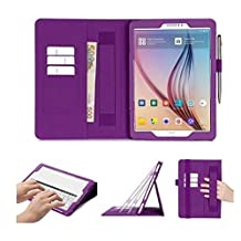 Samsung Galaxy Tab S2 9.7 Case Cover, FYY® [Super Functional Series] Premium PU Leather Case Stand Cover with Card Slots, Note Holder, Quality Hand Strap and Elastic Strap for Samsung Galaxy Tab S2 9.7 (With Auto Wake/Sleep Feature) Purple