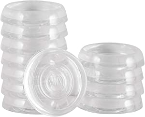 SoftTouch 4679895N Furniture Caster Cups Round for Carpet or Durable Hard Floors, 1-3/8 Inch, 12 Pack, Clear, 12 Piece