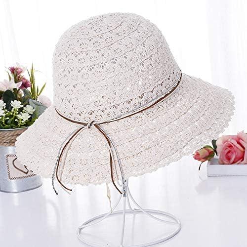 Eaglers Foldable Cotton Beach Bow Sunhats for Women Fashion Design Elegant Beach Sun Hat Ladies Lace Hollow Straw Hat