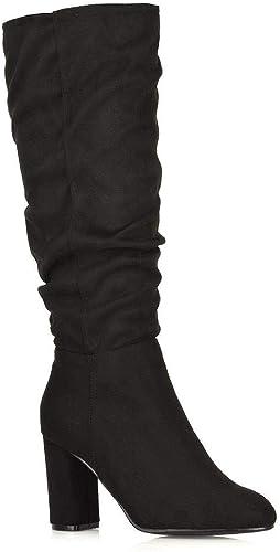 Womens Block High Heel Boots Ladies Mid