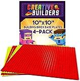 Creative Builders, Baseplates, Lego Compatible, Set of 4 Base Plates, Large Size 10