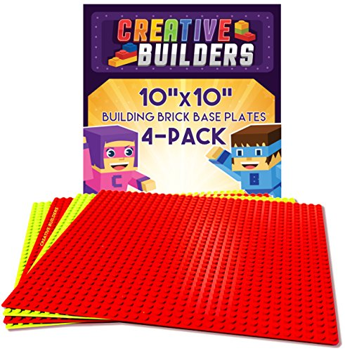 [Creative Builders, Baseplates, Lego Compatible, Set of 4 Base Plates, Large Size 10