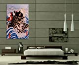 iCanvasART Samurai Wrestling Giant Koi Carp Japanese Woodblock Canvas Art Print, 18 by 12-Inch