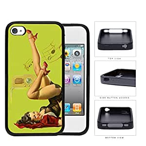 Pin-Up Girl Radio Dancing Rubber Silicone TPU Cell Phone Case Apple iPhone 4 4s