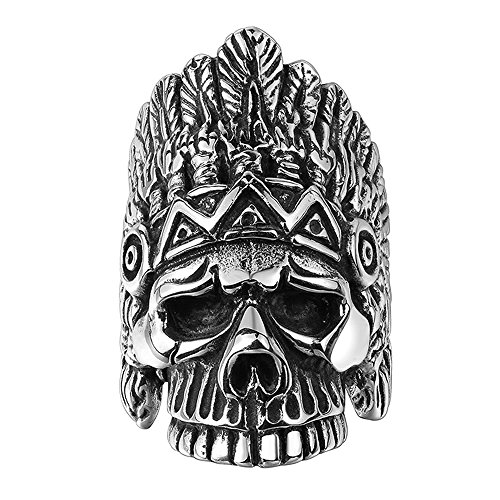 BLOOMCHARM Skull Rings for Men Boys Jewelry Punk Head Stainless Steel Bands Gifts Presents by BLOOMCHARM (Image #9)