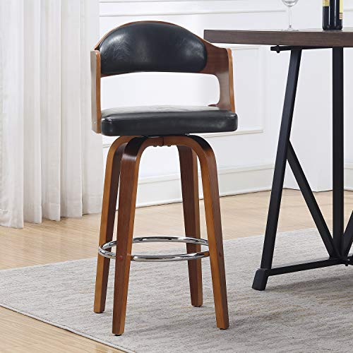 Heights Leather Pacific Chair (AC Pacific Wood and Faux Counter Seat Height Swivel Barstool Leather Black Mid-Century 27-Inch)