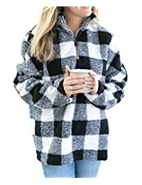 Ytwysj Womens Long Sleeve 1/4 Zipper Casual Loose Buffalo Plaid Sherpa Pullover Sweatshirt Warm Winter Coat Outwear