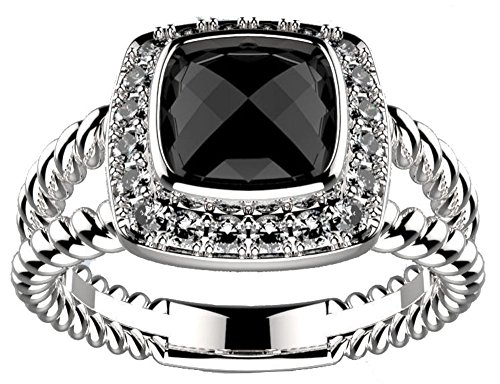Designer Inspired 7mm Black Onyx Cushion Ring Size 9