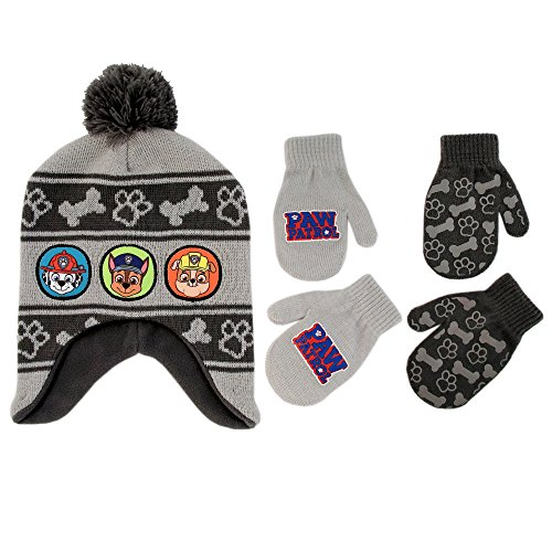 Toddler Hat Gloves - Nickelodeon Little Boys Paw Patrol Character Hat and 2 Pairs of Mittens or Gloves Cold Weather Set, Age 2-7 (Grey Design - Age 2-4 - Mittens Set)