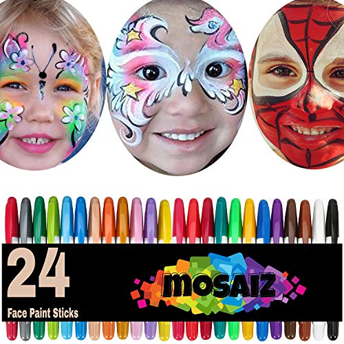 Painting My Face For Halloween (Face Paint Crayon 24 Colors with 12 Metallics Face Painting Sticks for Kids Washable Twistable Kit Water Based Non-Toxic Set Halloween Makeup Marker Pen for Face Hair)