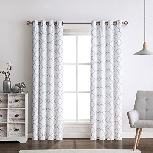 2 Pack: Regal Home Collections Meridian Energy Efficient/Room Darkening/Noise Reducing/Thermal Lattice Chic Foamback Grommet Curtains - Assorted Colors (Grey) (White Curtains Grey With)