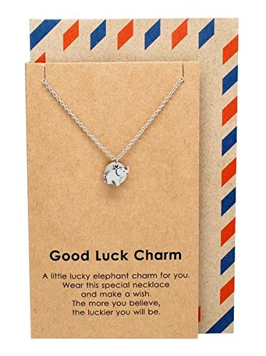 Good Luck Necklace with Lucky Elephant, Silver Tone, 16-in to 18-in