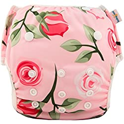 babygoal Reusable Swim Diaper for Girls, One Size Adjustable and Washable Swim Underwear Fits 0-2 Years and Swimming Lessons FSW05 Rose