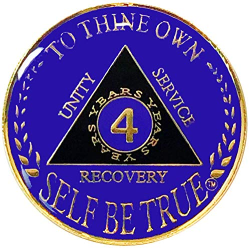 1-10 Year AA Gold/Purple Color Tri-Plated Medallion, Recovery Token, AA Token, Triple Clear Epoxy Sealed (4 Year)