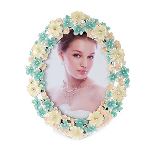 Damara Silver Metal Enamel Floral Jeweled Oval Picture (Floral Enamel Frame)