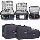 (US) BUBM 3pcs Double Layer Electronic Organizer, Travel Gadgets Bag for Cables, External Flash Drive, Mouse, Memory Card, Power Bank and More, Compact and Multi-purpose, Dark Blue