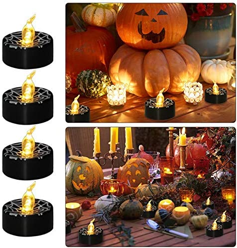 Aulaygo Halloween Tealights Candle 12 Pcs Black LED Warm White Spider Web Print Flickering Battery Operated Flameless Candles Lights for Home Decor Christmas Festival Outdoor Wedding Theme Party