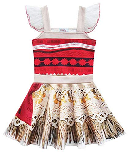 AOVCLKID Moana Costume Little Girls Dress up Toddler Baby Christmas Cosplay Outfit Kids Party Dress (140/6-7Y,Red)