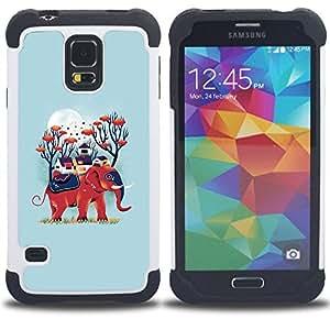 For Samsung Galaxy S5 I9600 G9009 G9008V - blue elephant nature moon animal Dual Layer caso de Shell HUELGA Impacto pata de cabra con im??genes gr??ficas Steam - Funny Shop -