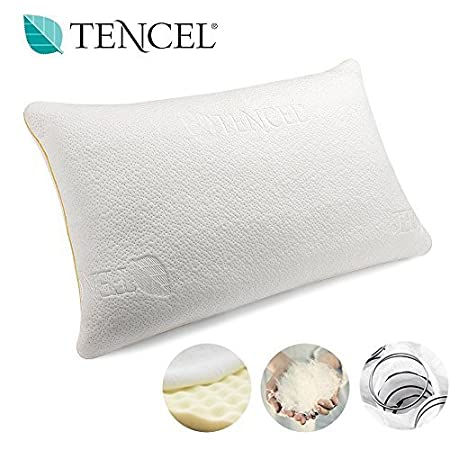 Pack of 2 Yellow Vesgantti Orthopaedic Pillow for Neck /& Shoulder Pain Neck Support Pillow with Pocket Springs and Cooling Fabric for Sleeping