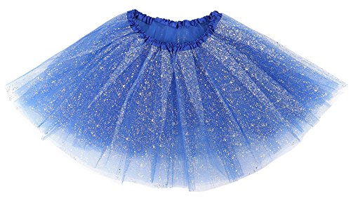 (Simplicity Women's Classic 3-Layered Tulle Tutu Skirt, Royal Sequin,One)