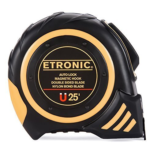 Etronic 25-Foot-by-1-Inch Tape Measure (Auto Lock, Magnetic Hook, Double Sided Blade, Nylon (Shock Resistant Tape Measure)
