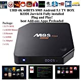Kukele@ [2016 Latest] UNLOCKED PLUG & PLAY - XBMC KODI JARVIS 16 Add-ons Fully Loaded - M8S PLUS 2G/16G Android 5.1 Lollipop 4K TV BOX - 64BITS S905 Quad Core - Watch Anything